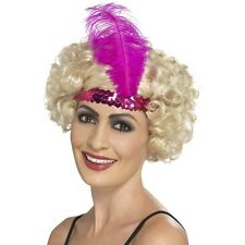 Women's 20's 30's Charleston Lady Fancy Dress Flapper Pink Headband & Feather