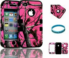 Hybrid Impact Slim Protective Premium Case Iphone 4s Pink Camo Mossy on Black