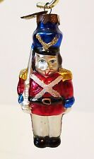 Vintage Christmas Tree Ornament Glass Toy Soldier Nutcracker Hand Painted 3""