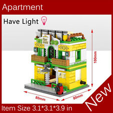 Mini Street View Building Block Apament Have Light Compatible With City Toys