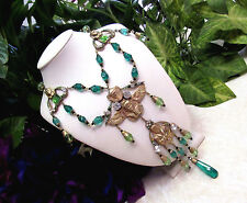 Vtg Art Deco Egyptian Revival Green Czech Glass Beaded Pharaoh Pendant Necklace