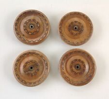 Set of 4 Antique Wheels for cart, Solid Wood likely Oak w/incised decoration