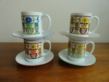 Vintage Mod Child Cup and Saucer Set Flower Fred Roberts Co. Japan  Retro