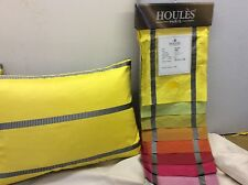 pkt 2 houles fabric cushions designer silk Yellow Striped