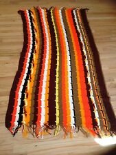 """Hand Made Crochet Afghan Retro Mid Century Brown Gold Throw Blanket 45 X 86"""""""