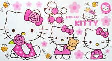 3 x Hello Kitty Self Adhesive Decorative Wall Stickers - 59cm x 31cm per sheet