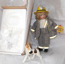 "8"" Helen Kish Kish & Co. Firefighter DJ MIB w/ Dog Stand COA Box w/o LID"