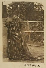 ANTIQUE VINTAGE EARLY AFRICAN DRESS TEXTILE GHANA ARTISTIC GOLD COAST RPPC PHOTO