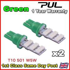 2 x GREEN 9 SMD LED 501 T10 W5W Side / Number Plate / Interior Light