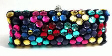Colorful ~Crystals Beaded Cosmetic /Bridal / Evening/Clutch Cocktail Bag ~Long