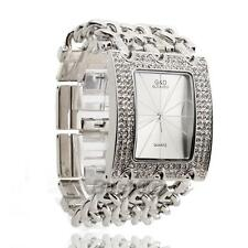 Montre Quartz Bracelet Alliage Strass Cadran Rectangle Argent Watch Femme