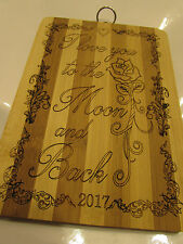 Mothers Day Personalised Bamboo Chopping Board, Laser Engraved With Any Message