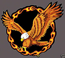 Iron On/ Sew On Embroidered Patch Badge Eagle Fire Circle Bird of Prey