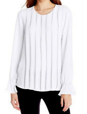 "$158 BCBG WHITE ""CIDNEY"" LONG SLEEVE  PLEATED  BLOUSE TOP NWT S"