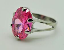 Fashion Cocktail Ring Pink Cubic Zircon Rhodium Plated ring Size : 10  fdf-39