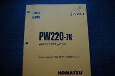 KOMATSU PW220-7K EXCAVATOR Parts Manual book catalog spare list index shop 2003