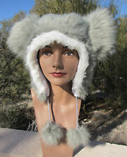 GRAY MOUSE EARS ADULT HAT ski cap animal grey costume cat anime emo punk FUZZY