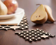 Bamboo Honeycomb Coasters Set, Eco-Friendly Dinnerware, Square Wooden Beer Mats