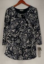 JM Collection Plus Size Top 1X Floral Lace Tunic Blouse White / Navy Blue NEW