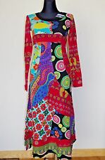 DESIGUAL NEW XS TUNIC FLORAL FALL DRESS RED LONG SLEEVES MAXI FULL LENGTH SKIRT