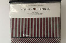 Tommy Hilfiger Burgundy Feathered Black Stripes Bedding Queen Sheet Set Cotton