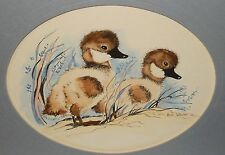 MERLE WHEELER BABY DUCK HAND PAINTED WATERCOLOR ON PRINT PAINTING