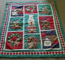"Vintage QUILT for Baby or Doll or Lap Throw 44 x 54"" Hand Quilted Holiday Colors"