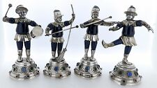 4 Antique German Solid Silver Jeweled & Enamel Musician Figures Band 13 Loth SL
