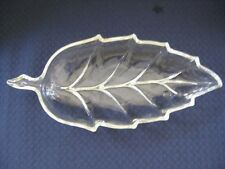 Hazel Atlas Clear Glass Autumn Fall LEAF Shape Candy Nut Relish  Dish Plate