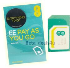 Oficial EE red móvil Pay As You Go Nano Micro Standard Sim Card payg 4g Reino Unido