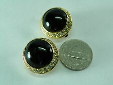 Christian Dior Chris. Dior Pave Crystals Black, Goldtone Earrings
