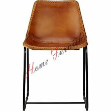4 Industrial Style Dining Chair Leather Brown Leather Chair Metal Dining Chairs