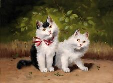 Classical oil painting animals white cats sitting in landscape Hand painted art