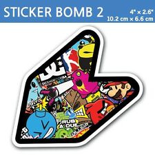 "4"" Sticker Bomb 2- JDM Wakaba Leaf Flag Decal Shoshinsha Mark Shocker Car Bumper"