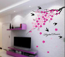Wall Stickers Wall Decor Pink Flower Branch with Birds 936