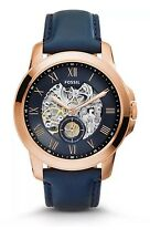 NEW Fossil Grant Automatic Rose Gold Tone Navy Blue Skeletal Mens Watch ME3054
