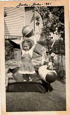 Antique Vintage Photograph Little Girl Playing in Yard With Blow Up Ball 1951