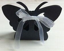 10 boites contenant dragées mariage bapteme noir  papillon ruban neuf