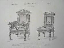 Fauteuil Chaisse renaissance LOUIS XIII GRAVURE le GARDE-MEUBLE MIDART XIXéme