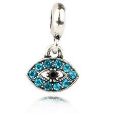 1pcs Eye lake blue CZ Charm Pendant fit European Silver Bracelet DIY #A459