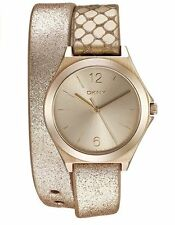 DKNY- NY2375 Parsons Beige Gold Tone Leather Double Wrap Women's Watch