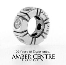 Pandora SILVER AND CHAMPAGNE ZIRCONIA TRINITY SPACER CHARM 790368ccz RRP£40!!!