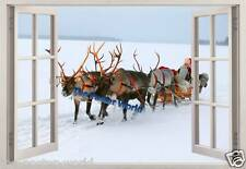 SET OF 3 CHRISTMAS SANTA SLEIGH 3D EFFECT WINDOW PICTURE WALL ART POSTER NEW Z1