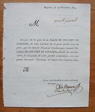 DE COUVERT DE COULOMB, 30 NOVEMBRE 1811, FAIRE-PART ORIGINAL DE DECES