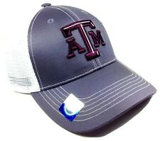 GREY GHOST TEXAS A&M UNIVERSITY AGGIES MESH TRUCKER SNAPBACK HAT CAP LOGO MASCOT