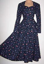 LAURA ASHLEY VINTAGE NAVY DAISY FLOWER DRESS & JACKET SUIT, REAR BOW - 14 UK