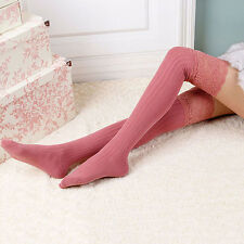 Chic Women Winter Cotton Knit Over Knee Long Boot Thigh-High Warm Socks Leggings
