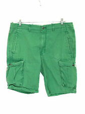 Men's Levis Cargo Shorts Bright Green Cotton Size 36 Actual Waist 38 Inches