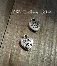 Paw Print Charms Pendants Paw Charms Dog Charms Antiqued Silver Charms 10pcs