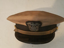 WWII United State Naval Officer's Tan Visor Hat Cap